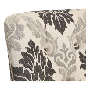 Chaise capitonnée en tissu arabesque et hévéa blanc - Judith - Visuel n°8