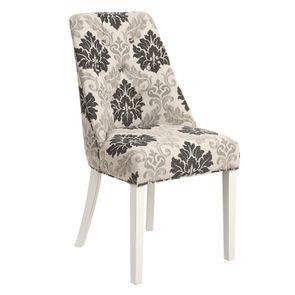 Chaise capitonnée en tissu arabesque et hévéa blanc - Judith - Visuel n°2