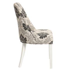 Chaise capitonnée en tissu arabesque et hévéa blanc - Judith - Visuel n°3