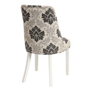 Chaise capitonnée en tissu arabesque et hévéa blanc - Judith - Visuel n°4