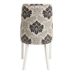 Chaise capitonnée en tissu arabesque et hévéa blanc - Judith - Visuel n°5