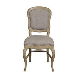 Chaise en tissu beige et hévéa massif - Éléonore