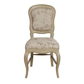 Chaise en hévéa massif et tissu paradisier - Éléonore - Visuel n°1