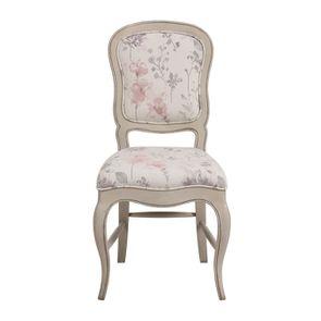 Chaise en hévéa massif et tissu fleurs opaline - Éléonore