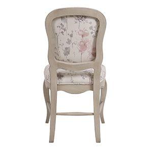 Chaise en hévéa massif et tissu fleurs opaline - Éléonore - Visuel n°4