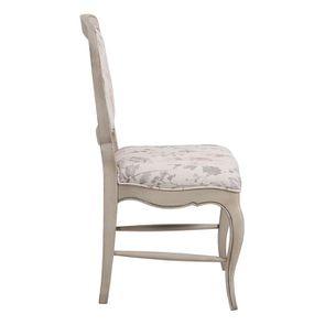 Chaise en hévéa massif et tissu fleurs opaline - Éléonore - Visuel n°5