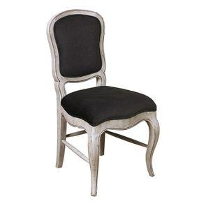 Chaise en hévéa massif et tissu gris toucher velours - Éléonore - Visuel n°2