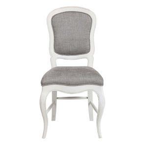 Chaise en hévéa massif et tissu gris chambray - Éléonore