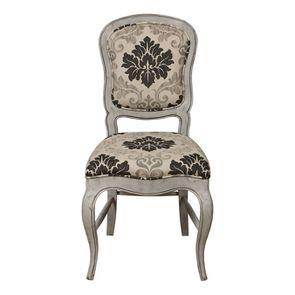 Chaise en hévéa massif et tissu arabesque - Éléonore
