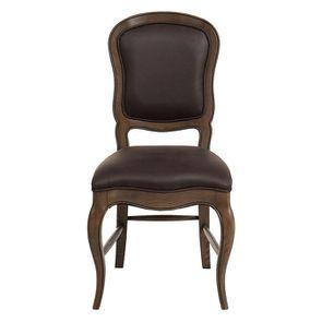 Chaise en frêne massif et éco-cuir chocolat - Éléonore