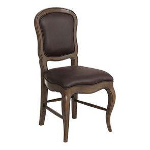 Chaise en frêne massif et éco-cuir chocolat - Éléonore - Visuel n°2