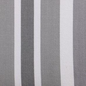 Chaise en hévéa massif noir et tissu Bayadère gris - Éléonore