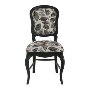 Chaise en hévéa noir et tissu feuilles noires - Éléonore