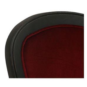 Chaise en velours lie de vin et hévéa massif noir - Eléonore - Visuel n°8
