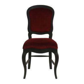 Chaise en velours lie de vin et hévéa massif noir - Éléonore