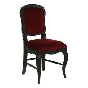 Chaise en velours lie de vin et hévéa massif noir - Eléonore - Visuel n°2