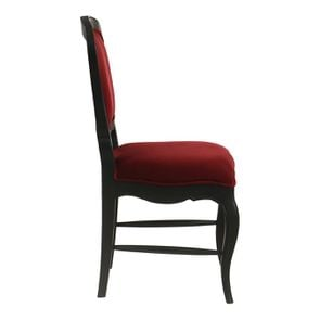Chaise en velours lie de vin et hévéa massif noir - Eléonore - Visuel n°3
