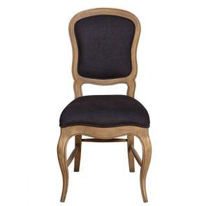 Chaise en hévéa massif et tissu gris anthracite - Éléonore