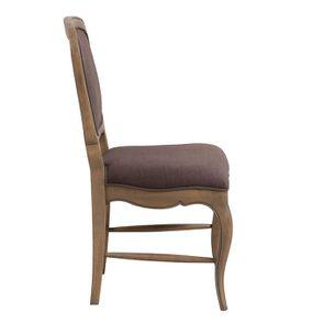 Chaise en hévéa massif et tissu marron glacé - Éléonore - Visuel n°2