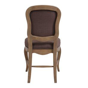 Chaise en hévéa massif et tissu marron glacé - Éléonore - Visuel n°4