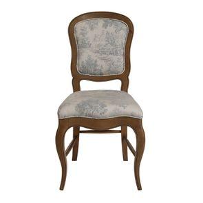 Chaise en tissu toile de Jouy et frêne massif - Éléonore