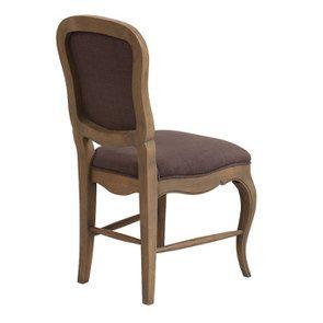 Chaise en hévéa massif et tissu marron glacé - Éléonore - Visuel n°6