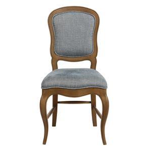 Chaise en tissu bleu chambray et frêne massif - Éléonore