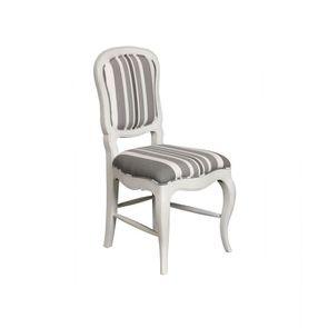 Chaise en hévéa massif et tissu bayadère gris - Éléonore - Visuel n°2