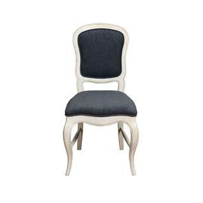Chaise en hévéa massif blanc et tissu Velours bleu gris - Éléonore