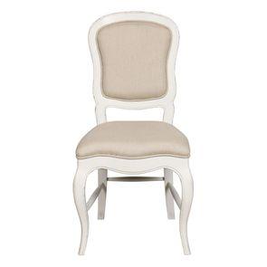 Chaise en hévéa massif et tissu ficelle - Éléonore