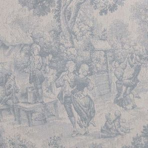 Méridienne droite en frêne massif et tissu toile de Jouy - Eugénie