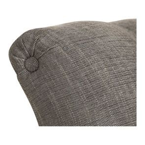Méridienne gauche en hévéa blanc et tissu gris chambray - Eugénie - Visuel n°9