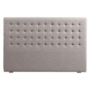 Tête de lit capitonnée 180 en hévéa et tissu lin beige - Capucine