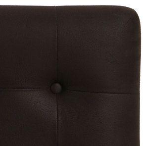 Tête de lit capitonnée 180 en frêne et tissu éco-cuir chocolat - Capucine - Visuel n°2