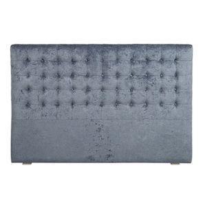 Tête de lit capitonnée 180 en hévéa et tissu velours bleu - Capucine