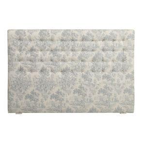 Tête de lit capitonnée 180 en hévéa et tissu toile de Jouy - Capucine