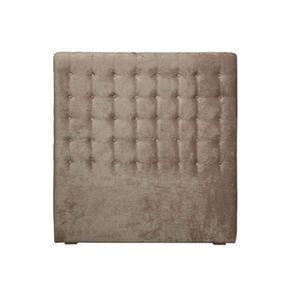 Tête de lit capitonnée 90 en frêne et tissu taupe - Capucine