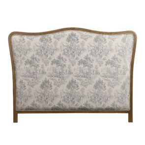 Tête de lit 140/160 cm en frêne massif et tissu toile de Jouy - Joséphine