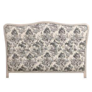 Tête de lit 180 capitonnée en tissu toile de jouy anthracite - Joséphine