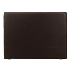 Tête de lit 160 cm en hévéa noir et éco-cuir chocolat - Capucine