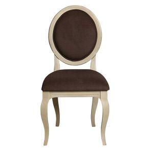 Chaise médaillon en tissu marron glacé - Hortense
