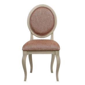 Chaise médaillon en tissu orange briqué et hévéa massif grège - Hortense