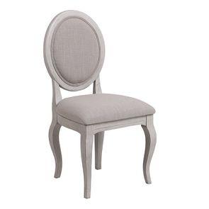 Chaise médaillon en tissu Lin beige et piétements gris argenté - Hortense - Visuel n°2