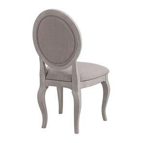 Chaise médaillon en tissu Lin beige et piétements gris argenté - Hortense - Visuel n°3