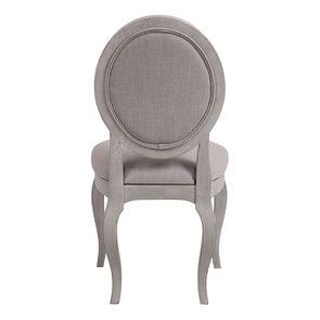 Chaise médaillon en tissu Lin beige et piétements gris argenté - Hortense - Visuel n°4