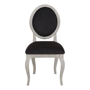 Chaise médaillon en tissu gris anthracite et hévéa - Hortense