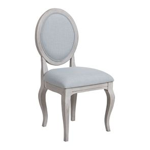 Chaise médaillon en tissu bleu glacier - Hortense - Visuel n°2