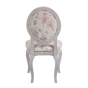 Chaise médaillon en tissu Fleurs opaline et hévéa gris argenté - Hortense - Visuel n°4
