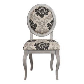 Chaise médaillon en tissu arabesque et hévéa - Hortense