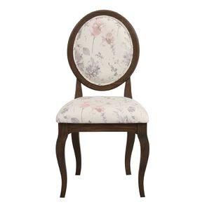 Chaise médaillon en tissu fleurs opaline - Hortense - Visuel n°1